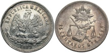 World Coins - MEXICO: 1889 Go R 25 Centavos