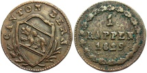World Coins - SWISS CANTONS: Bern 1829 1 Rappen