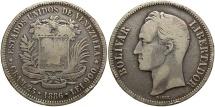 World Coins - VENEZUELA: 1886 5 Bolivares