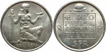 World Coins - SWITZERLAND: 1936-B Confederation Armament Fund 5 Francs