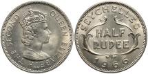 World Coins - SEYCHELLES: 1966 1/2 Rupee