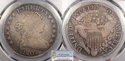 Us Coins - 1802 Draped Bust 1 Dollar (Silver) PCGS EF