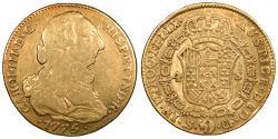 World Coins - SPAIN Carlos (Charles) III 1775-S CF 4 Escudos Good VF