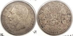 World Coins - BELGIUM: 1873 5 Francs