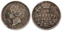 World Coins - CANADA Victoria 1899 small 9's 10 Cents AU