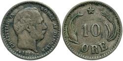 World Coins - DENMARK: 1889 10 Ore