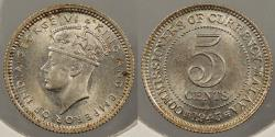 World Coins - MALAYA: 1945 George VI 5 Cents