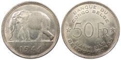 World Coins - BELGIAN CONGO Leopold III 1944 50 Francs AU/UNC