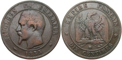 World Coins - FRANCE: 1855 BB 10 Centimes