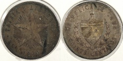 World Coins - CUBA: 1920 20 Centavos #WC63383