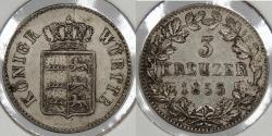 World Coins - GERMAN STATES: Wurttemberg 1855 3 Kreuzer