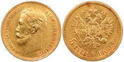 World Coins - RUSSIA Nicholas II 1900 5 Roubles AU