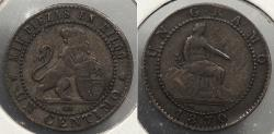 World Coins - SPAIN: 1870 Centimo