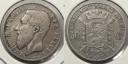 World Coins - BELGIUM: 1886 Dutch text 50 Centimes