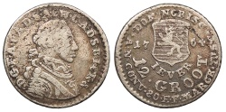 World Coins - GERMAN STATES Jever Friedrich August, Prinz von Anhalt-Zerbst 1764 12 Groot (Grote) (1/6 Thaler) Near VF