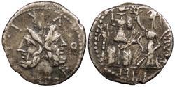 Ancient Coins - M. Furius L.f. Philus c. 119 B.C. Denarius Rome Mint VF