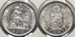 World Coins - PERU: 1863-YB 1/2 Dinero