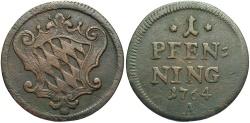 World Coins - GERMAN STATES: Bavaria 1764 1 Pfennig