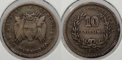World Coins - URUGUAY: 1893 w/o mm 10 Centesimos