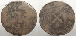 World Coins - PORTUGAL: Illegible date (1675-1677) ex. Archer M. Huntington collection with small tag 10 Reis