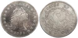Us Coins - 1795 Flowing Hair 1 Dollar (Silver) Three leaves; B5; Die state a VF