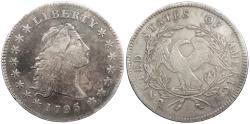 Us Coins - 1795 Flowing Hair 1 Dollar (Silver) Three leaves; B5; Die state a VF