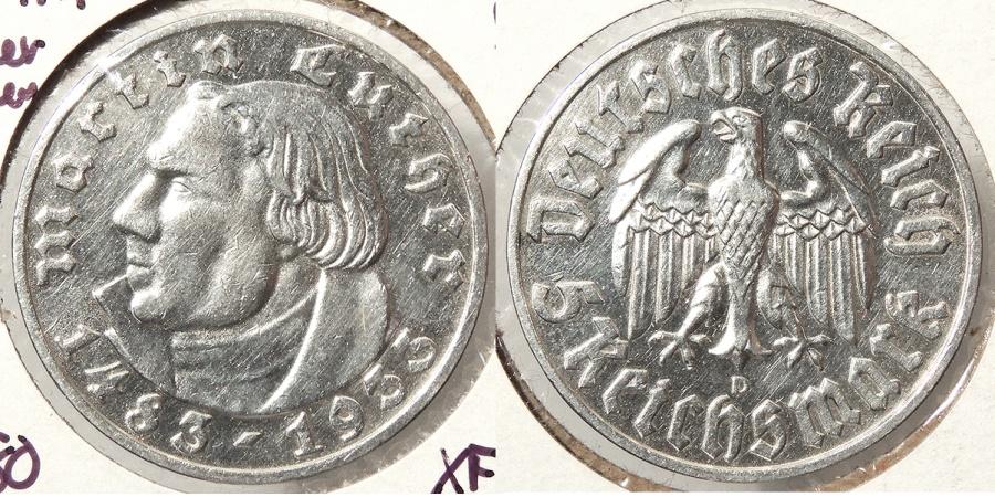 World Coins - GERMANY: Third Reich 1933-D Martin Luther - 28,000 struck 5 Mark