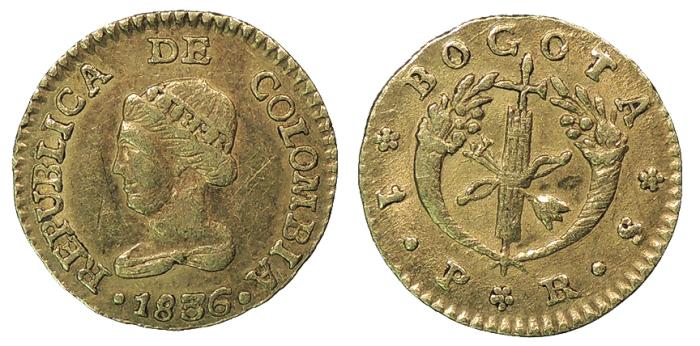 World Coins - COLOMBIA 1836-RS 1 Peso EF