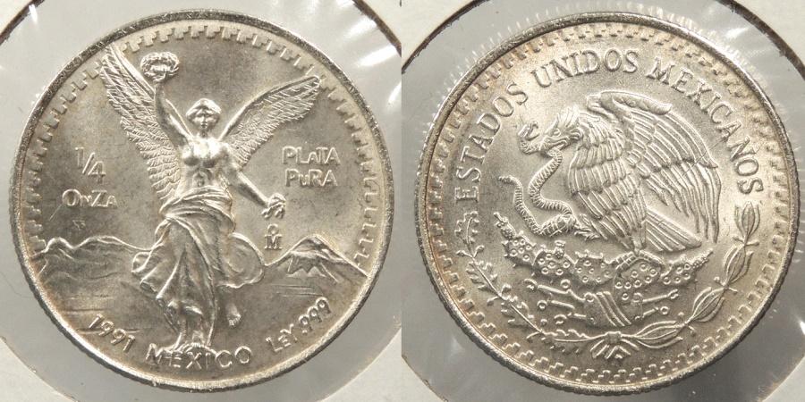 World Coins - MEXICO: 1991-Mo 1/4 oz Onza