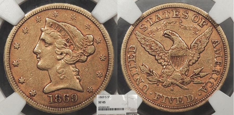 US Coins - 1869 S Coronet 5 Dollars NGC EF-45