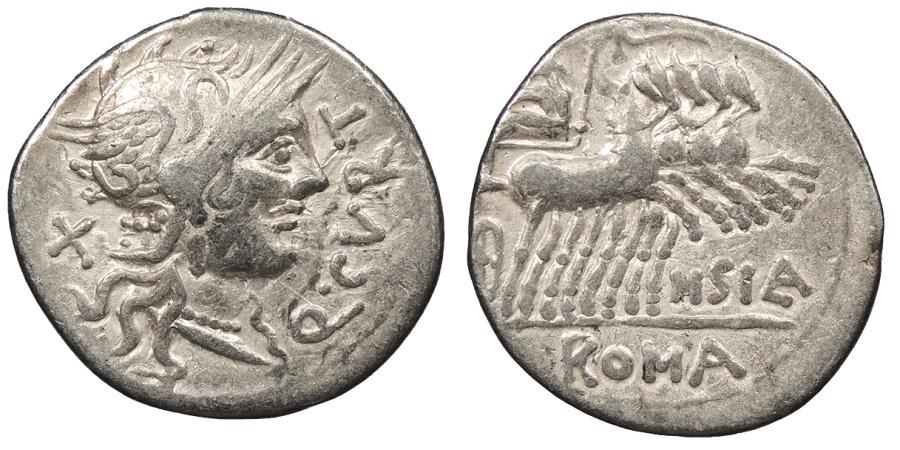 Ancient Coins - Q. Curtius 116-115 B.C. Denarius Rome Mint VF
