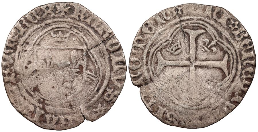 World Coins - FRANCE Charles VII, the Victorious 1422-1461 Blanc a la Couronne VF