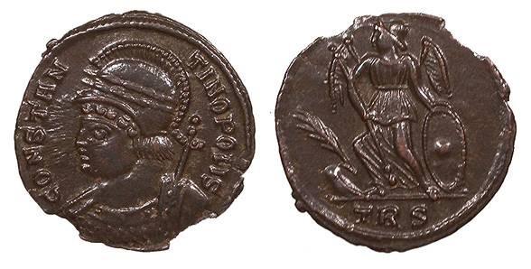Ancient Coins - Time of Constantine I 307-337 A.D. Follis Trier Mint Choice EF