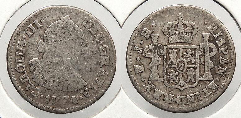 World Coins - BOLIVIA: 1774-PTS JR 1/2 Real