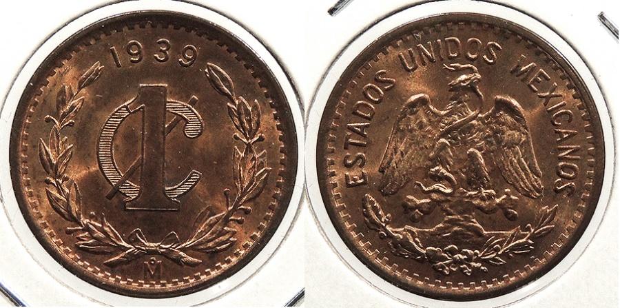 World Coins - MEXICO: 1939-Mo Gem Centavo