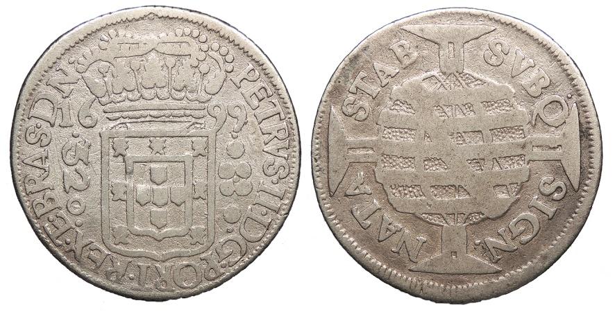 World Coins - BRAZIL (Brasil) D. Pedro II 'o Pacifico' 1699/5-(r) 320 Reis Near VF