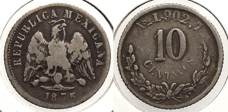 World Coins - MEXICO: Alamos 1875-As L 10 Centavos