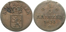 World Coins - GERMAN STATES: Hesse-Cassel Ober-Hesen Wilhem II & Friedrich Wilhelm 1835 1/4 Kreuzer