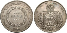 World Coins - BRAZIL: 1860/50 1000 Reis