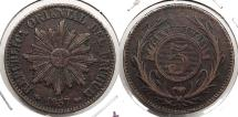 World Coins - URUGUAY: 1857-D One year type 5 Centesimos
