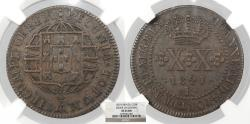 World Coins - BRAZIL Joao VI 1821-R 20 Reis NGC EF-45