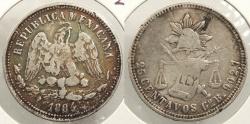 World Coins - MEXICO: Guanajuato 1884-Go B Attractive toning. 25 Centavos #WC63503
