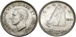 World Coins - CANADA: 1942 10 Cents