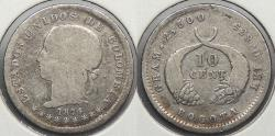 World Coins - COLOMBIA: 1874 Only 179,000 struck. 10 Centavos