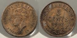 World Coins - CANADA: Newfoundland 1943-C George VI 5 Cents