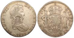 World Coins - PORTUGAL Miguel or Maria ND (1834) on 1821-Mo JJ 870 Reis revaluation of 8 Reales EF