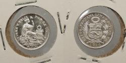 World Coins - PERU: 1914-FG 1/2 Dinero