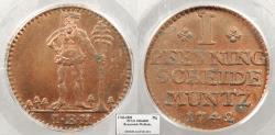 World Coins - GERMAN STATES Brunswick (Braunschweig)-Wolfenbuttel Karl I 1742-IBH Pfenning PCGS MS-64 RB