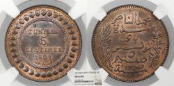 World Coins - TUNISIA Muhammad al-Nasir Bey AH 1325 / 1907-A 5 Centimes NGC MS-63 RB