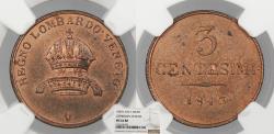 World Coins - ITALIAN STATES Lombardy-Venetia 1843-V 3 Centesimi NGC MS-64 RB